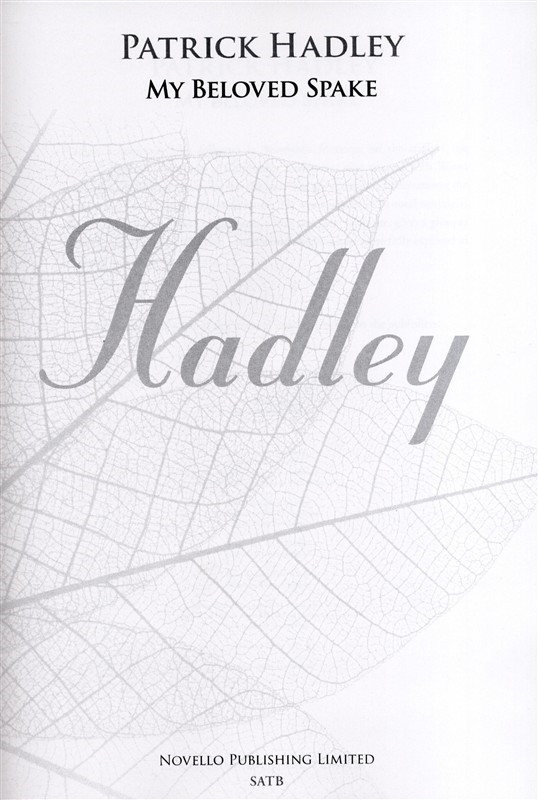 Hadley: My Beloved Spake SATB published by Novello