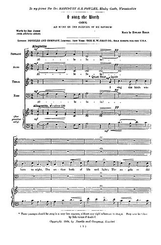 I Sing the Birth SATB by Elgar published by Novello