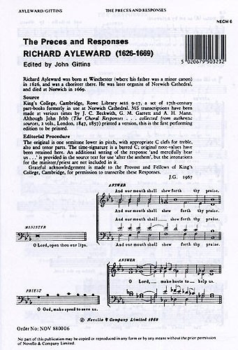 Ayleward: The Preces And Responses SATB published by Novello