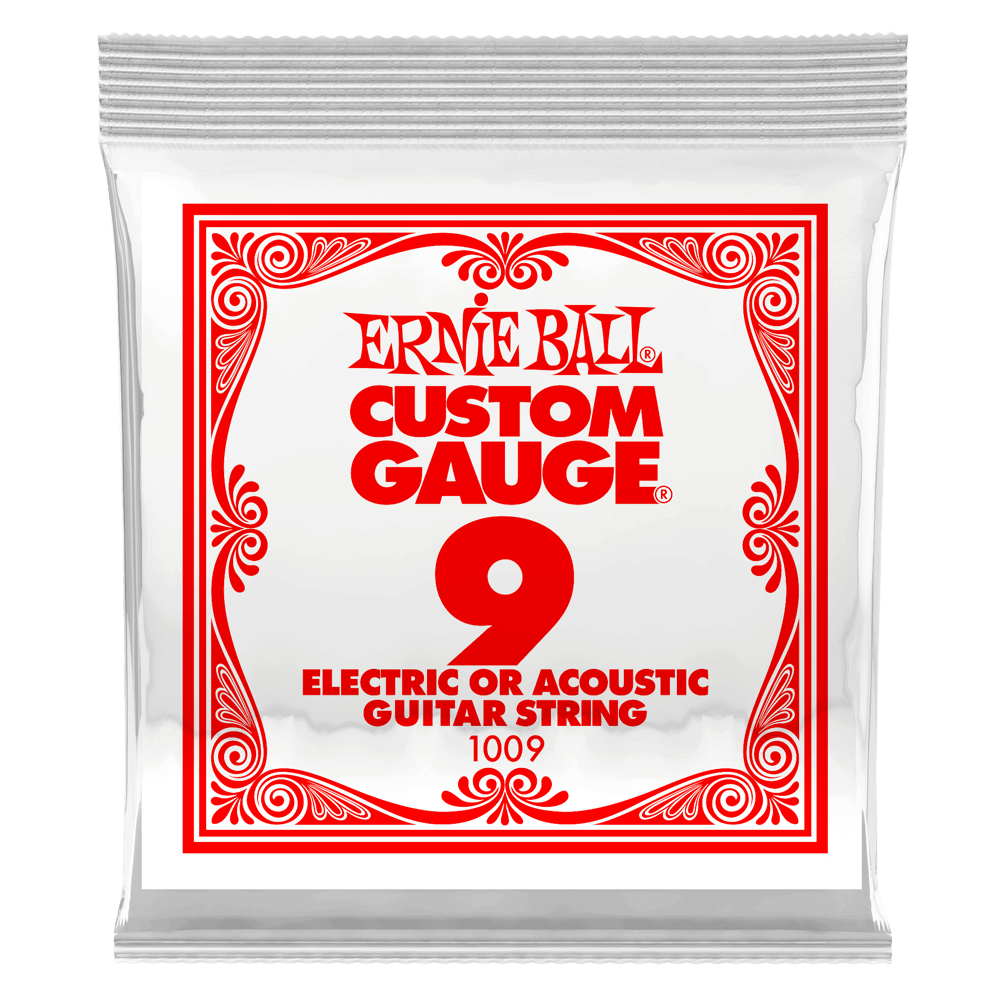 Ernie Ball .009 Plain Steel Electric or Acoustic Guitar String