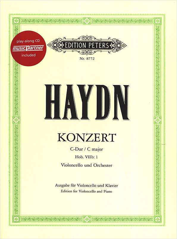 Haydn: Concerto in C Hob. V11b:1 for Cello Book & CD published by Peters