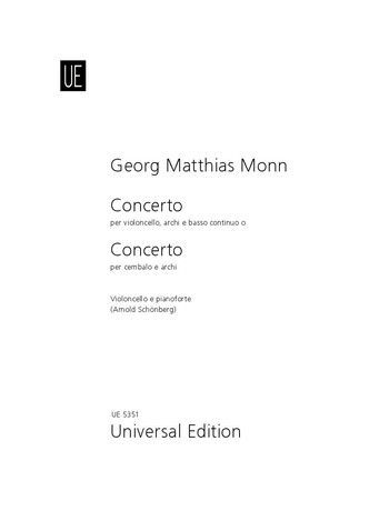 Monn: Concerto in G minor for Cello published by Universal Edition