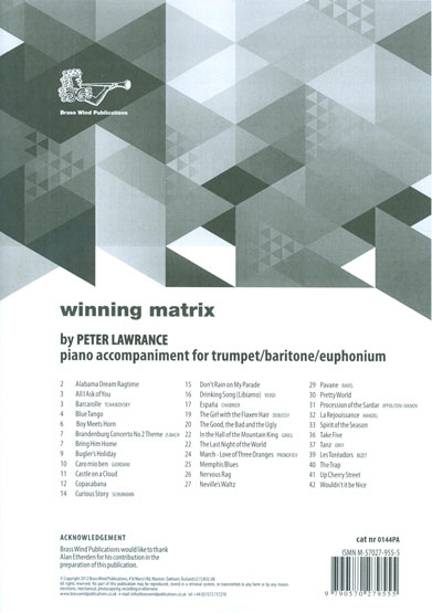 Winning Matrix for Trumpet Piano Accompaniment published by Brasswind
