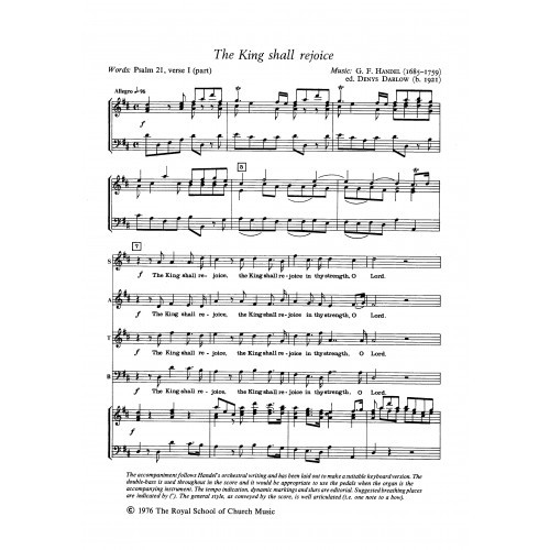 Handel: The King Shall Rejoice SATB published by RSCM