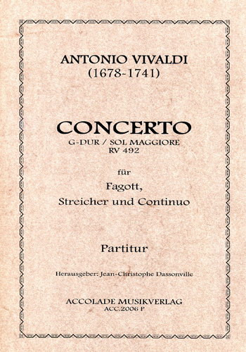 Vivaldi: Concerto in G RV492 for Bassoon published by Accolade Musikverlag
