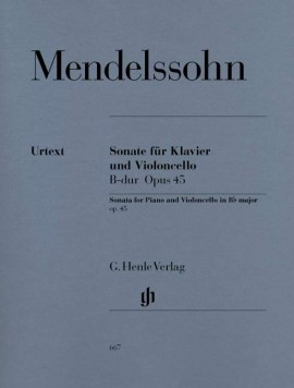 Mendelssohn: Sonata No 1 in Bb major Opus 45 for Cello published by Henle