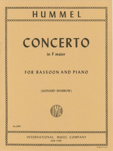 Hummel: Concerto in F major for Bassoon published by IMC