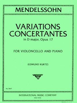 Mendelssohn: Variations Concertantes in D Opus 17 for Cello published by IMC
