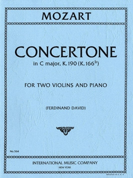 Mozart: Concertone in C major K.190 (K.186e) for 2 Violins published by IMC