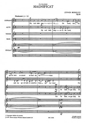 Berkeley: Magnificat And Nunc Dimittis Opus 99 SATB published by Chester