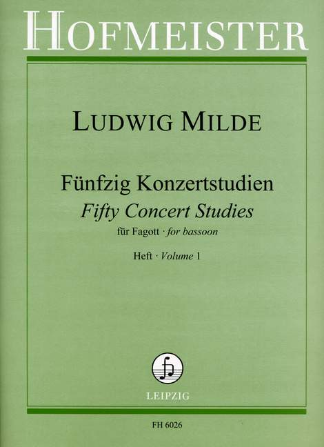 Milde: 50 Concert Studies Opus 26 Volume 1 for Bassoon published by Hofmeister