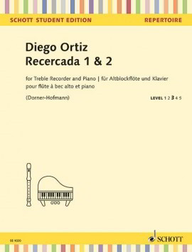 Ortiz: Recercada 1 & 2 for Recorder published by Schott