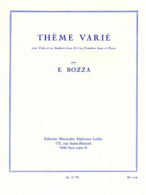 Bozza: Thème Varié for Tuba or Bass Trombone published by Leduc