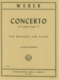 Concerto in F Opus 75 by Weber for Bassoon published by IMC
