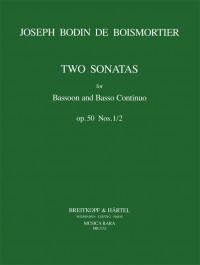 2 Sonatas (1 & 2) Opus 50 for Bassoon by Boismortier published by  Breitkopf & Hartel