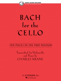 Bach For The Cello - 10 Easy Pieces In 1st Position published by Schirmer (Book/Online Audio)