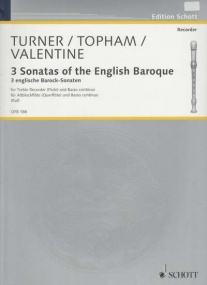 3 Sonatas of the English Baroque for Treble Recorder published by Schott