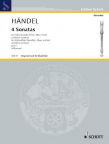 Handel: Four Sonatas for Treble Recorder published by Schott