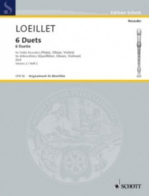 Loeillet: 6 Duets Volume 2 for Treble Recorder published by Schott
