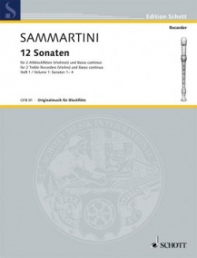 Sammartini: 12 Sonatas Volume 1 for Treble Recorder published by Schott