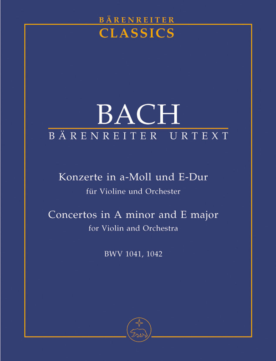 Violin Concertos in A Minor and E Major Study Score by Bach published by Barenreiter